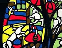 Little Red Riding Hood as stained glass