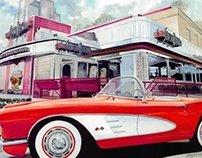 Corvette at Diner--What Could Be Finer?