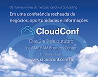 Banner e anúncio de meia página CloudConf