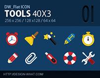 40 Flat Icons (Tools)