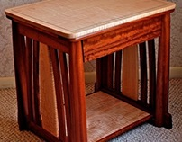 Side Table In Bubinga & Curly Maple