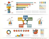 charts and reports Retro Infographic design elements Ve