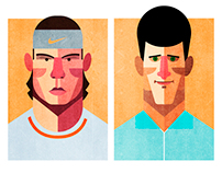 Rafael Nadal vs Novak Djokovic Illustration