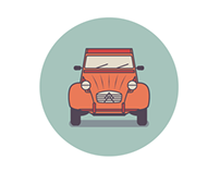 Classic utility vehicles icon design