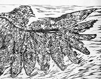 Woodcut Printing of a Pidgeon