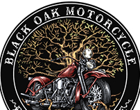 Black Oak Motorcycle Logo Illustrated by Steven Noble