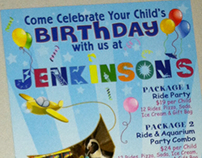 Jenkinson's Birthday Party rack card