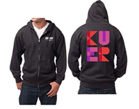 KUER Sweatshirt and Annual Report Logo