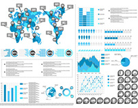 Free Vector infographic world map and pie chart graphic