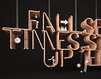 3D typography art - fall seven times, stand up eight.