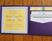 Modern Purple/Yellow/Gray Chevron Wedding Invitations