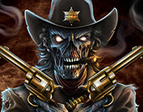 Undead Zombie Gunslinger Illustration