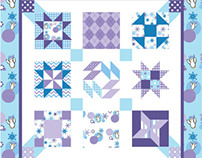 Penguins in Love Blue and Purple Colorway