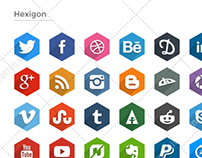 Flat Social Icons - Long Shadows