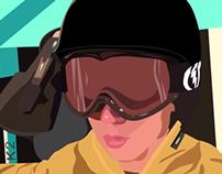 Snowboard vector portrait