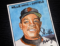 Illustrated Willie Mays Baseball Card