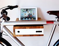 Oak wood bicycle shelf / rack with sliding front panel