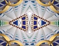 Hotel Burj Al Arab Dubai at the mirror becomes textile