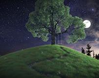 Moon lite tree swing