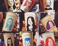 Godiva Coffee Cup Portraits