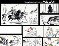 Storyboards from Mulan & Dinosaur