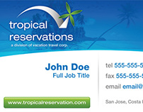 Tropical Reservations Business Card 2009