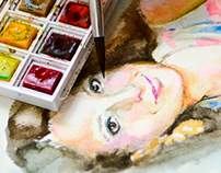 Watercolors: Portrait making-of