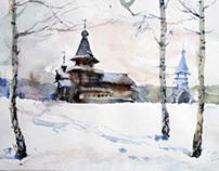 Winter. Zashiverskaya church.