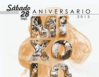 Flyer, evento Aniversario 2013 Mixology. Cliente: Mixo