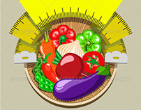 Dieting Sticker with Vegetables