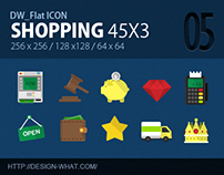 45 Flat ICONs (Shopping)