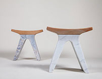 Pigreco Marble and Wood Stools