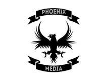 Logo featuring a phoenix and ribbon banners