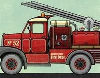 Fire Truck, Police Car and Rescue Chopper Art Prints