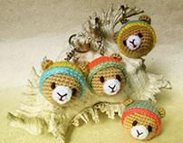 Miniature Amigurumi Teddy Bear Keychains