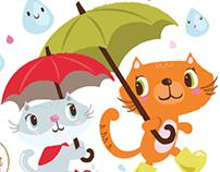 Kitties in the rain