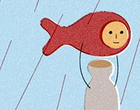 Fish and rain.