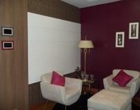 Sala de leitura e degustação de vinhos, com home office