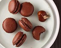 Chocolate chestnut macarons