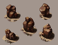 Rocks and Bushes Study