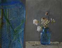 Petits bouquets sur fonds en grisaille