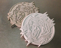 Lightning Tiger Cement coasters