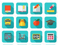 Modern Flat Square Education and Leisure Icons