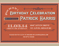 Cigar Box Label-inspired invitation
