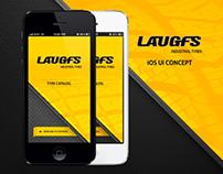 LAUGFS Tyres Product Catalog iOS UI Design
