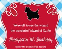Wizard of Oz Dorthy custom birthday invitation