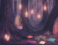 Enchanted Forrest Campout Illustration