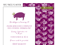 Purple Princess Pig Invitation