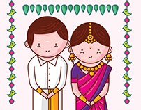 Tamil Nadu Wedding Invitation - Cute Couple Collection