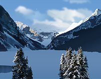 Banff Mountains Illustration - pen tool + gradients